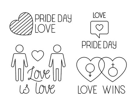 bundle of pride day icons, line style vector illustration design