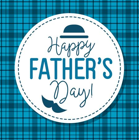 happy fathers day card with hat and moustache decoration vector illustration design