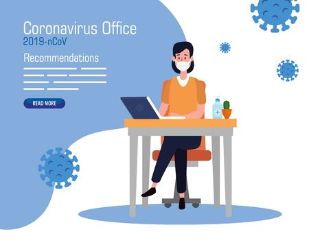campaign of recommendations of 2019 ncov at office with businesswoman and icons vector illustration design Çizim
