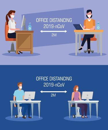 set banners of campaign distancing social at office with business people vector illustration design