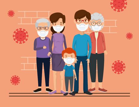 family members using face mask with particles 2019 ncov vector illustration design Illustration