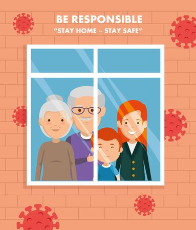 stay at home campaign with family in window vector illustration design Illustration