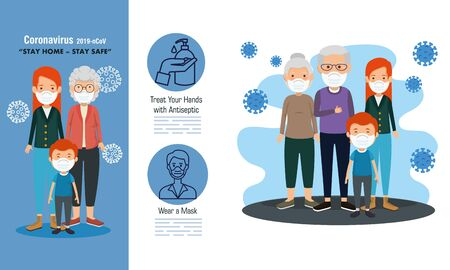 set scenes of stay at home campaign with families vector illustration design Illustration