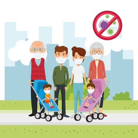 family members using face mask in landscape vector illustration design