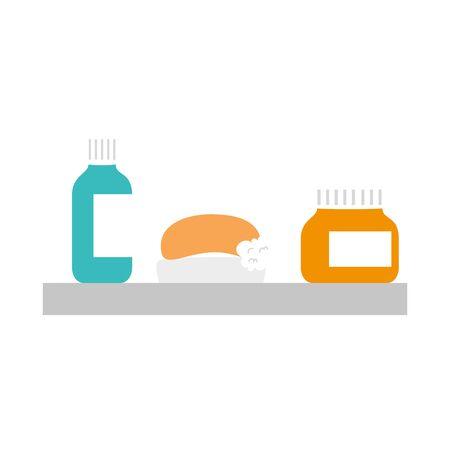 soap bar with medical bottle in shelf vector illustration design