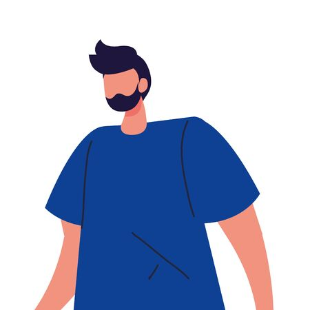 young man faceless with beard on white background vector illustration design