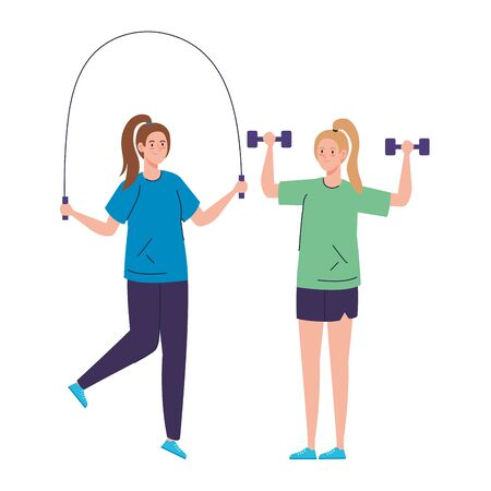 women athletes, weightlifting and skipping rope on white background vector illustration design