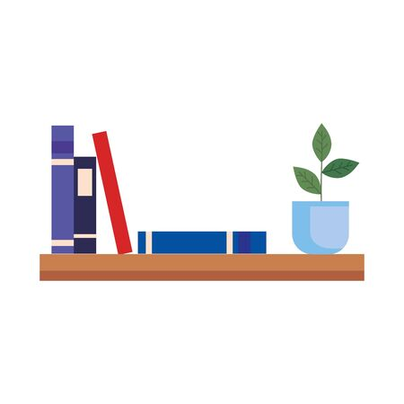 shelf with books and pot plant vector illustration design