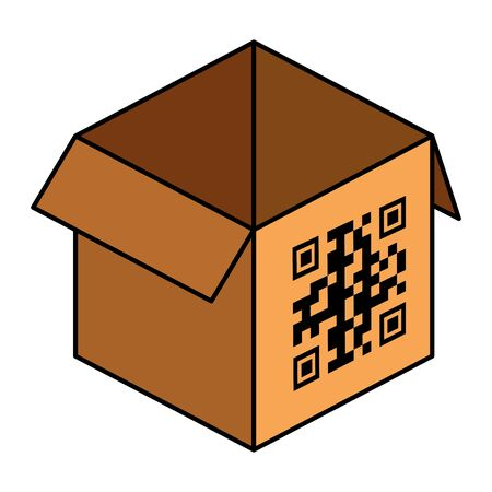 qr code over box design of technology scan information business price communication barcode digital and data theme  illustration