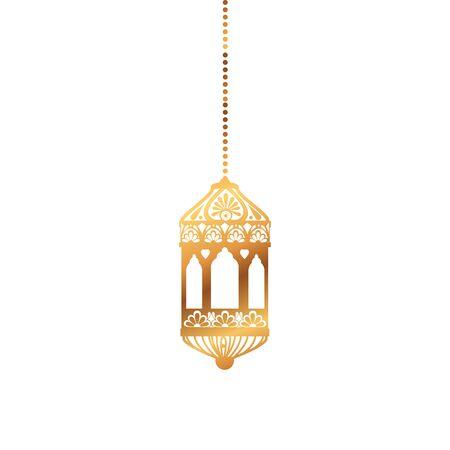 Hanging gold lantern design of Bohemic ornament indian decoration retro vintage meditation henna ethnic arabic texture and tribal theme Vector illustration Ilustração