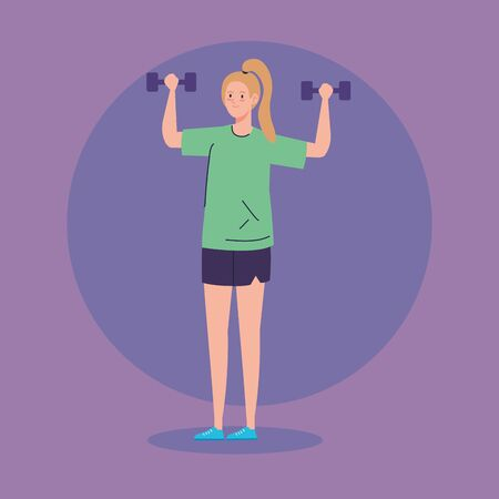 woman lifting dumbbells avatar character vector illustration design