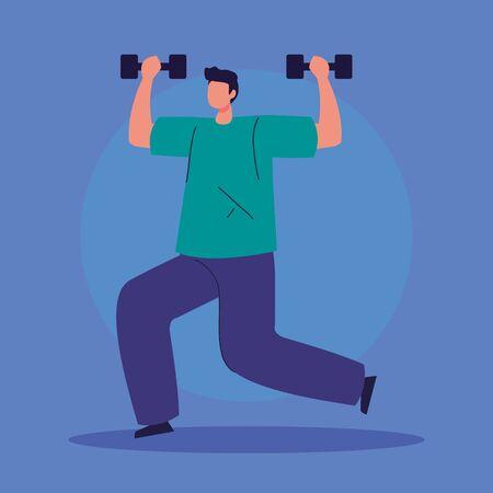 man lifting weights avatar character illustration design