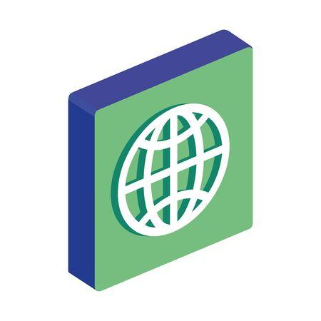 isometric earth globe icon isolataed on white background vector illustration design