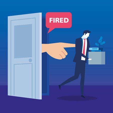 dismissed person, businessman sad fired, dismissal, unemployment, jobless and employee job reduction concept vector illustration design