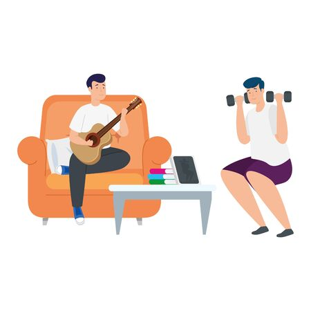young men lifting dumbbells and playing guitar vector illustration design