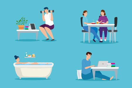 young people stay at home characters vector illustration design