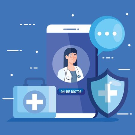 doctor female in smartphone with app of medicine online and icons vector illustration design