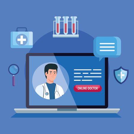 doctor and laptop with app medicine online vector illustration design