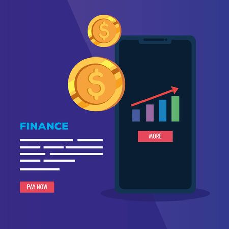 smartphone with infographic and coins vector illustration design