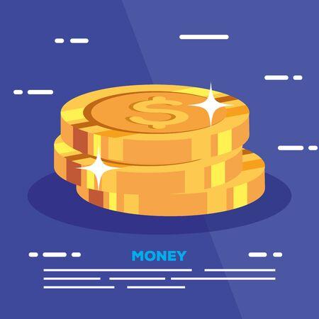 pile of coins dollar money vector illustration design Ilustração