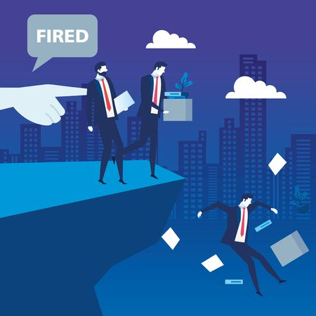businessmen sad fired in precipice , dismissal, unemployment, jobless and employee job reduction concept vector illustration design