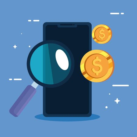 smartphone with coins and magnifying glass vector illustration design