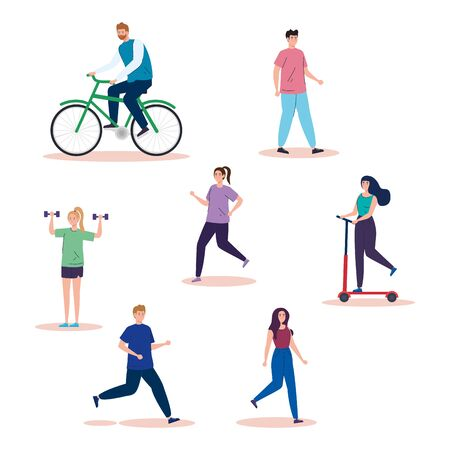 group people practicing activities avatar characters vector illustration design