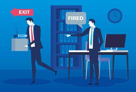 boss firing businessman , dismissal, unemployment, jobless and employee job reduction concept vector illustration design