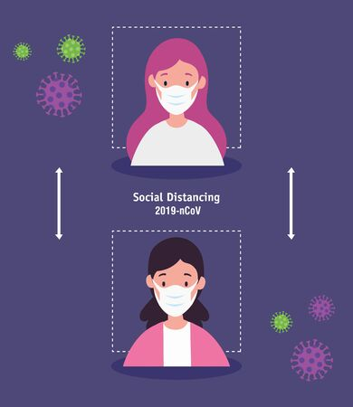 women using face mask and social distancing for covid19 vector illustration design