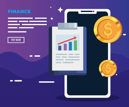 smartphone with clipboard and coins vector illustration design