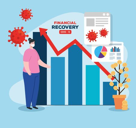 global financial recovery of market after covid 19, woman with business graphic and icons vector illustration design