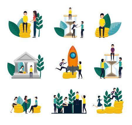 bundle of business people with set icons vector illustration design Illustration