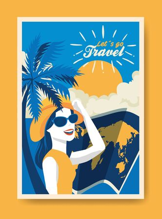 travel poster with woman and summer landscape vector illustration design