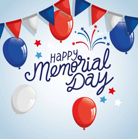 happy memorial day with garlands and balloons helium vector illustration design