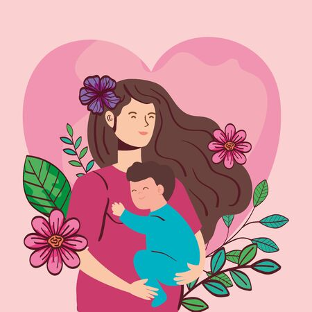 woman pregnant carrying baby boy with flowers decoration vector illustration design