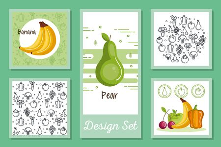 designs set of fruits and vegetables icons vector illustration design