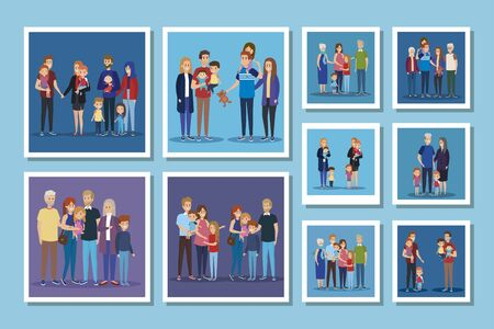 set of cute family members vector illustration design