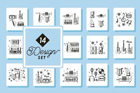set fourteen designs of music instruments icons vector illustration design Stok Fotoğraf - 148004294