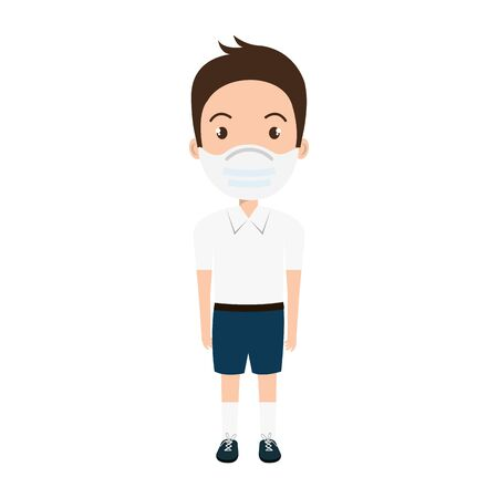 cute boy student using face mask isolated icon vector illustration design Ilustración de vector