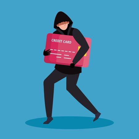 hacker with credit card icon vector illustration design