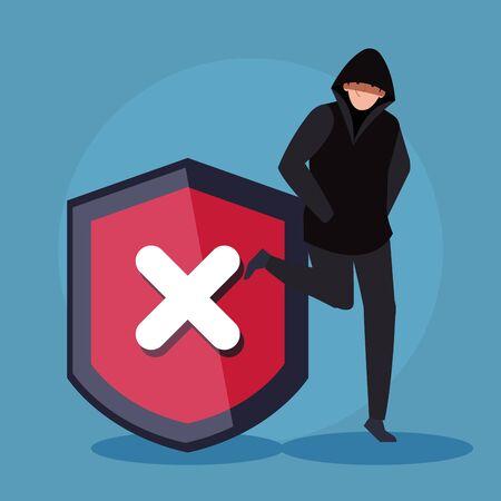 hacker person and shield icon vector illustration design Illustration