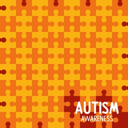 world autism day with background of puzzle pieces vector illustration design