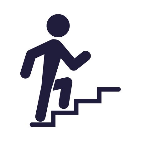 silhouette human climbing stairs signal airport icon vector illustration design