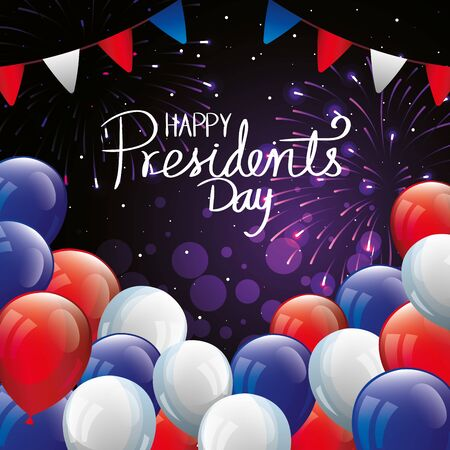 happy presidents day with balloons helium and garlands hanging vector illustration design