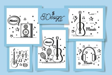 set five designs of music instruments and icons vector illustration design Иллюстрация
