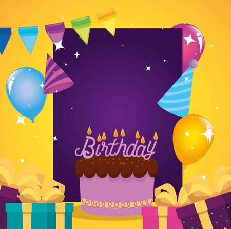 presents gifts with sweet cake and banner party to happy birthday, vector illustration