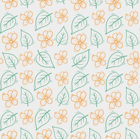 background of cute flowers with leafs vector illustration design
