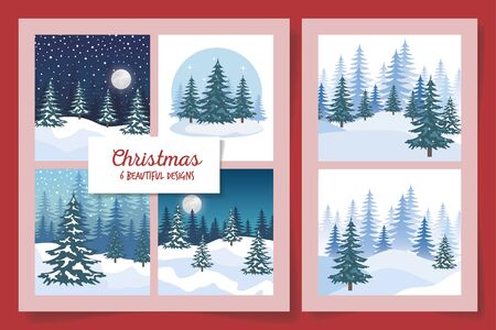 six designs of christmas winter landscape vector illustration design