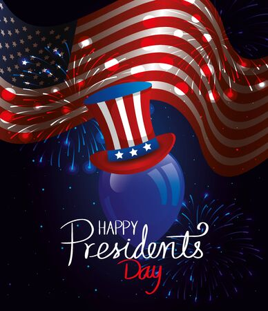 happy presidents day with flag usa and top hat vector illustration design