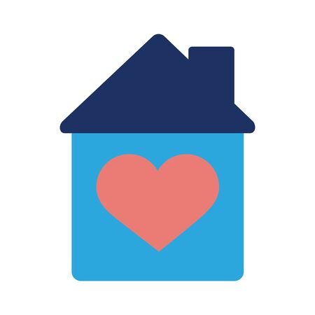 house with heart solidarity flat style vector illustration design